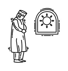 Dhuhur prayer icon doodle hand drawn or outline vector