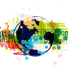 Digital globe banner with art background design vector