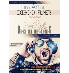 Disco Night Club Flyer layout with Disck Jockey vector