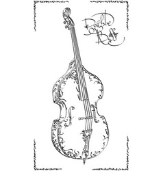 Drawing double bass vector