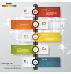 Editable 5 steps timeline presentation template vector