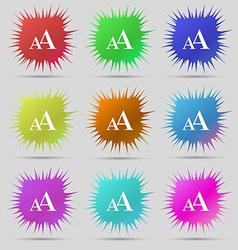 Enlarge font AA icon sign A set of nine original vector