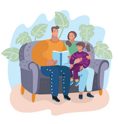 family reading book together sitting on couch vector image