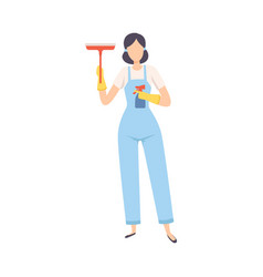 female professional cleaner standing with squeegee vector image