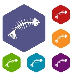Fish bones icons set vector image