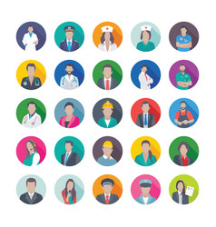 Flat icons of professions vector
