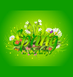 Floral spring background with text letter ornament vector