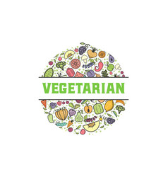 fruits and vegetables vegetarian banner isolated vector image