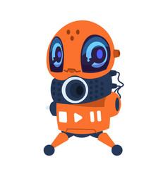 futuristic robot cartoon mascot orange vector image