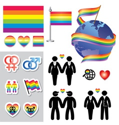 Gay map icons vector