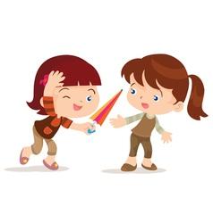 Girl give umbrella friend vector