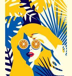Girl with glasses oranges vector