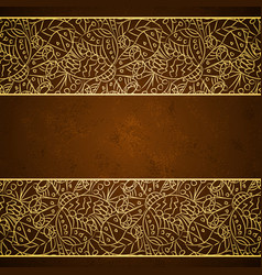 Gold floral ornament on brown grunge background vector