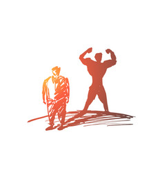 hand drawn fat man with strong body shadow behind vector image