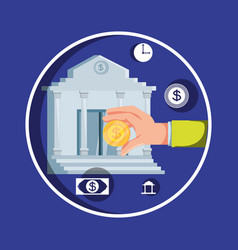 hand with bank building and set icons economy vector image