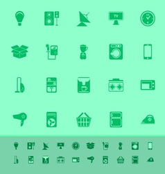 Home related color icons on green background vector