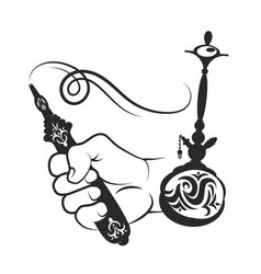 Hookah and hand silhouette vector
