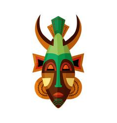 Horned african mask ethnic symbol voodoo vector