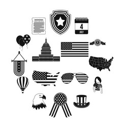 independence day black simple icons vector image