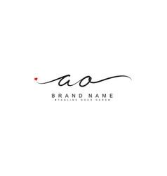 Initial letter ao logo - hand drawn signature logo vector