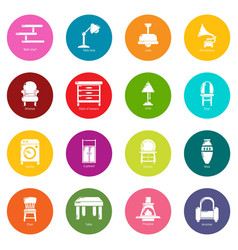 interior furniture icons set colorful circles vector image