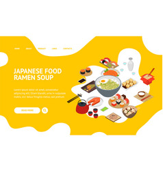 Japanese food concept landing web page 3d vector