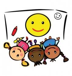 Kids draw smile vector