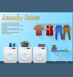 Laundry service design with washing machine vector