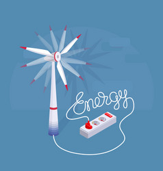 lettering energy with cartoon wind turbine and vector image