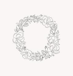 Line drawing leaf flower wreath frame vector
