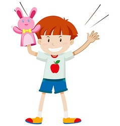 Little boy playing rabbit puppet vector