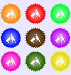 Loader icon sign A set of nine different colored vector image
