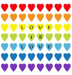 love is black text rainbow heart set vector image