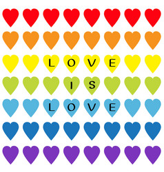 love is love black text rainbow heart set vector image