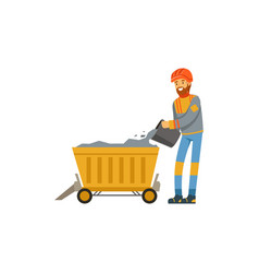 male miner in uniform working in mine with trolley vector image