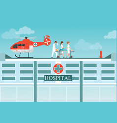 medical emergency chopper helicopter vector image
