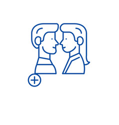 meeting clients line icon concept meeting clients vector image