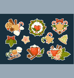 merry christmas symbols of happy winter holiday vector image