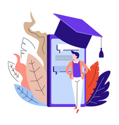 online education smartphone in academic hat and vector image