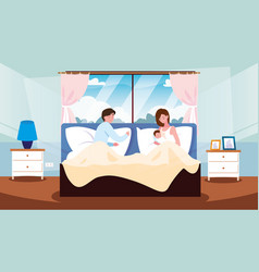 Parents in bed with newborn inside room vector