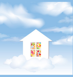 party house dream concept blue sky with clouds vector image