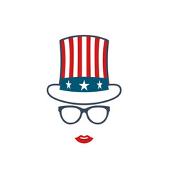 portrait of patriotic girl in glasses vector image