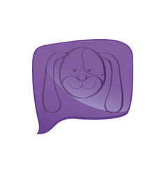Purple square chat bubble with dog animal inside vector