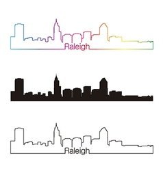 Raleigh skyline linear style with rainbow vector image