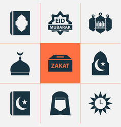 Ramadan icons set with islam eid mubarak shawl vector