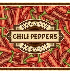Retro Chili Pepper Harvest Label vector