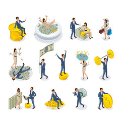rich people isometric icons vector image