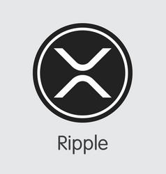 Ripple - digital coin icon of cryptographic vector