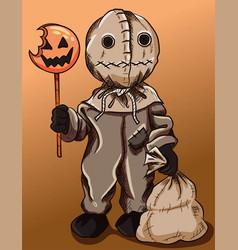 sack scarecrow with a pumpkin orange candy vector image