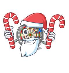 santa with candy cartoon dartcoard next to wooden vector image